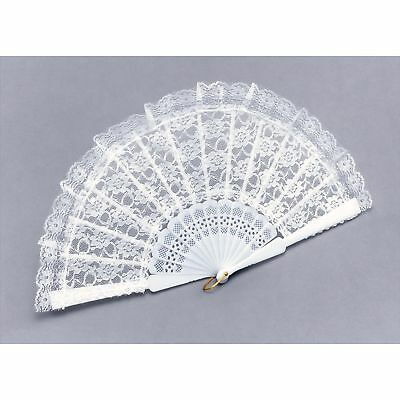BURLESQUE WHITE LACE SPANISH FAN Womens Ladies Fancy Dress Costume Accessory