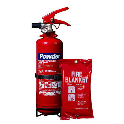 Brand New 1Kg Dry Powder Fire Extinguisher + Small Fire Blanket - Home/office