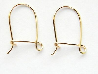 Pair of 9ct Yellow Gold Ear Safety Hook Wires for Dangle, Drop Earrings 9K/.375