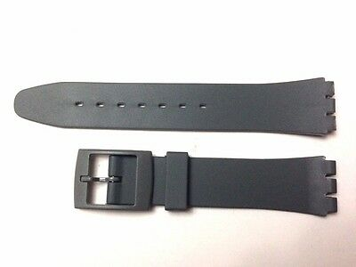 Replacement 17mm (20mm) Watch Strap for SWATCH - Grey Resin