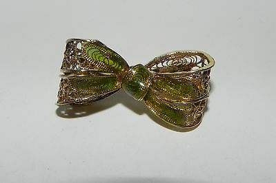 Vintage Filigree & Enamel Bow Pin Brooch Silver & Gold Tones Made in Italy