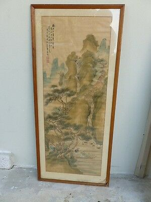Old Vintage Antique Chinese Scroll Painting On Silk ? #1