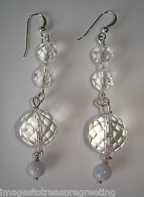 Pierced dangly earrings w silver fittings & vintage faceted crystal beads