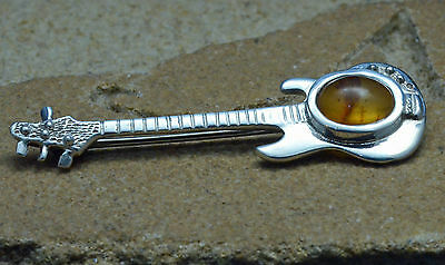 Sterling Silver Fender Electric Guitar Brooch Amber Unique.