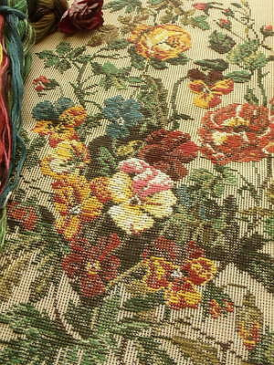 """HUGE 29"""" Vtg Tramme Preworked Needlepoint KIT Canvas~GOUGEOUS ROSE Poppy ANTIQUE"""