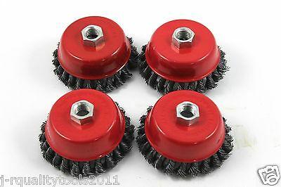 "4 Pack 4"" Cup Knotted Wire Wheel Angle Grinder Brush"