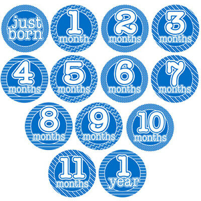 BLUE Monthly Milestone Stickers - Baby Boy Shower Gift - Solid w/ Pattern Border