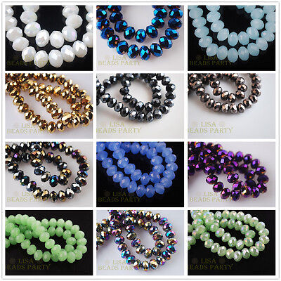 100pcs 3X2mm Faceted Rondelle Charms Crystal Glass DIY Loose Spacer Beads