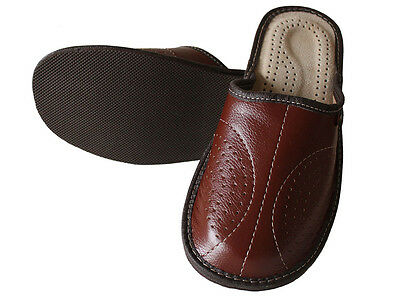 Mens Leather Slippers Slip On Shoes Size 7 8 9 10 11 UK Mules