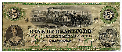 1859 $5 Bank Of Brantford - Province Of Canada - Rare Canada Obsolete - Reduced!