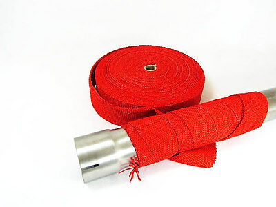 5 Metre RED Heat Wrap Exhaust Downpipe High Temp Insulating  Manifold Tape Rap
