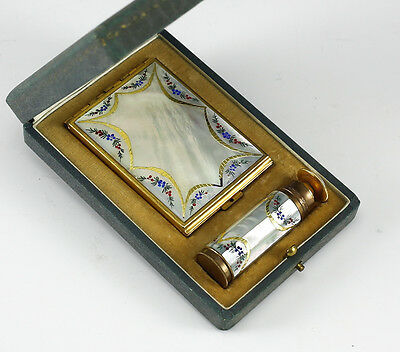 Noailles Paris Compact and Atomizer Set c1920s - Mother of Pearl, enamel flowers