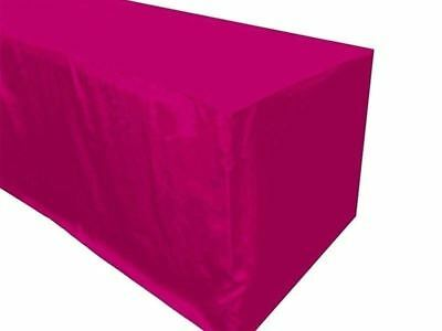 6' ft. Fitted Polyester Tablecloth Wedding Banquet Event Table Cover - Hot Pink