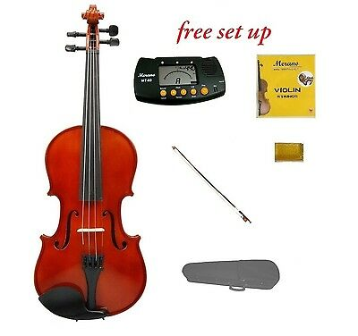New Acoustic Natural Violin,Case,Bow,Strings,Tuner 4/4 3/4 1/2 1/4 1/8 1/10 1/16