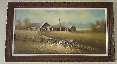 Large James Young Original Barn Oil Painting,  Wooden Frame, Great Condition.