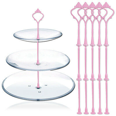 5 Sets 3 Tiers Pink Cake Plate Stand Rod Handle Fittings Crown Party