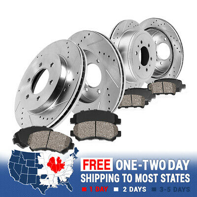 [FRONT REAR] Drilled Slotted SPORT Brake Rotors Quiet Ceramic Pads 4WD