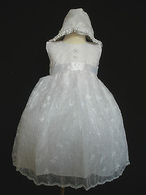 Baby Girls Baptism Christening Formal Dress  + Bonnet size  (0-30M) white
