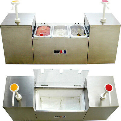 Commercial 5-Section Condiment Dispenser Station Insulated Cold Well Pump System
