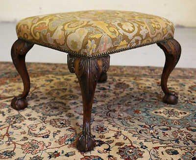 18th C. English ball and claw footed sitting bench, hand made needlepoint fabric