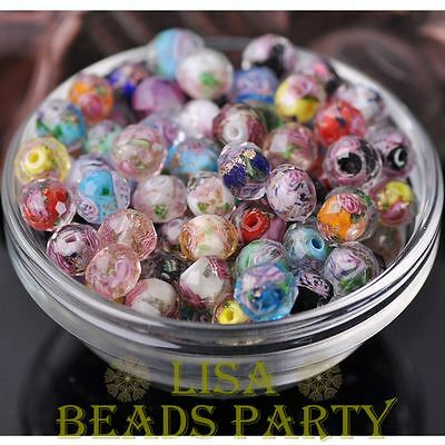 10pcs 10mm Flowers Inside Faceted Rondelle Loose Lampwork Glass Spacer Beads Lot