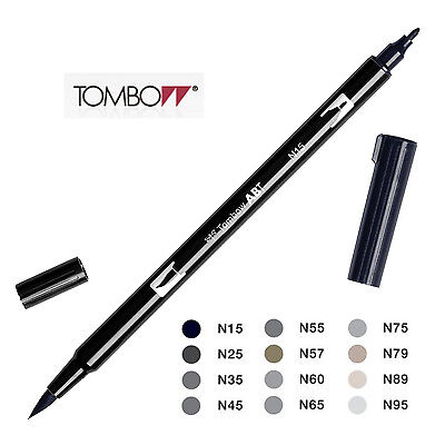 Tombow Dual Brush Pen  Black and Grays  Choice of 12 colours