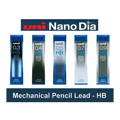 Nano Dia Uni Mechanical Pencil Lead HB : Choice of 0.3, 0.4, 0.5, 0.7 & 0.9mm