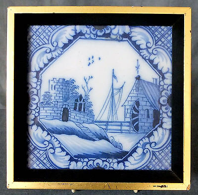 GREAT 18th. CENTURY FRAMED DELFT TILE DEPICTING A CANAL SCENE & WATER WHEEL