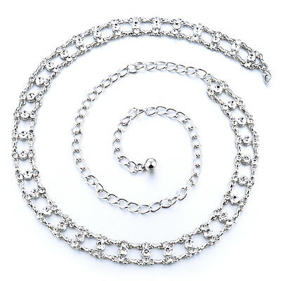 Ladies Girls Silver Waist Belt Diamante Chain Adjustable Fashion Rhinestone 284