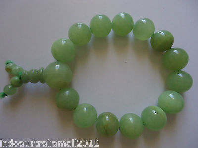 Buddhist  Mala  Light Green Real Jade Gemstone 14mm Beads Bracelet (PJBR005-27)