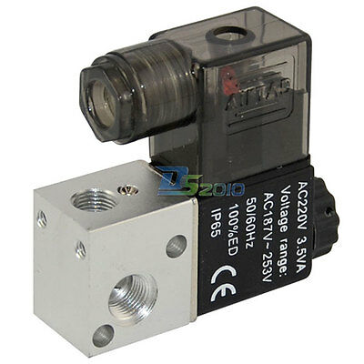 "NPT Air 1/8"" DC 12V 3 way 2 position Pneumatic Electric Solenoid Valve Aluminum"