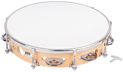 CPK Percussion - 10 Inch Tunable Tambourine, Wood Rim , 8 Pairs Of Jingles