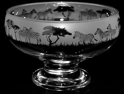 *ZEBRA GIFT*  Boxed FOOTED GLASS BOWL with ZEBRA FRIEZE design