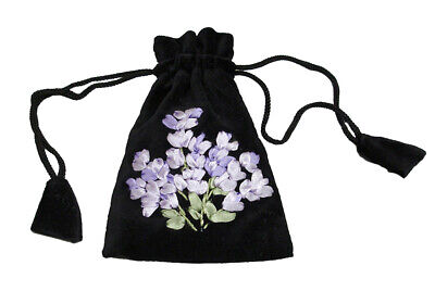 Black Velvet Lavender Lilac Ribbon Embroidery Drawstring Bag Pouch Cotton B50