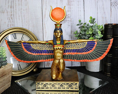 Ancient Egyptian Mythology Religion Goddess Isis with Open Wings Statue Decor