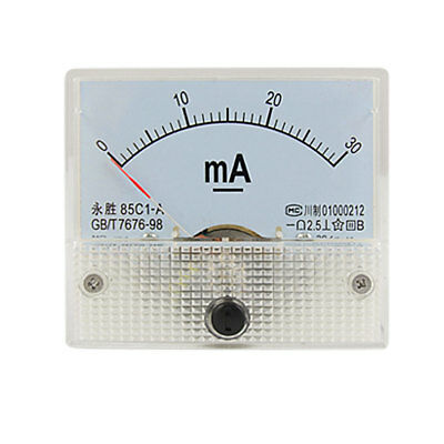Class 2.5 Accuracy DC 0-30mA Analog Panel Meter Ammeter 85C1-A