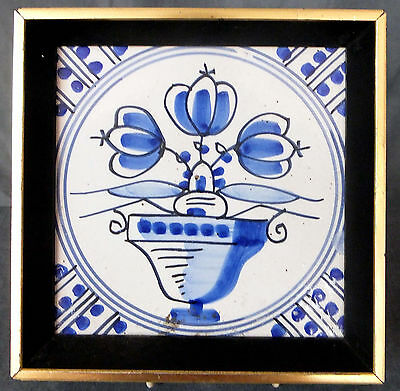GREAT 18th. CENTURY FRAMED DELFT TILE DEPICTING A POTTED FLOWER