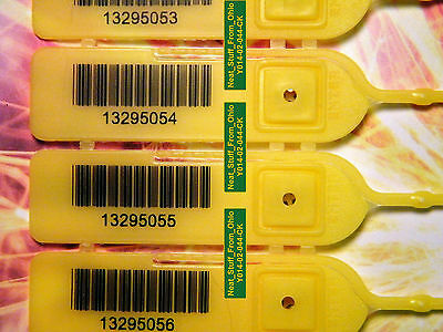 100 DELUXE, RAT-TAIL SECURITY SEALS with BARCODE, ALL THE RIGHT FEATURES, YELLOW