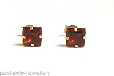 9ct Gold Garnet Stud earrings Gift boxed Made in UK