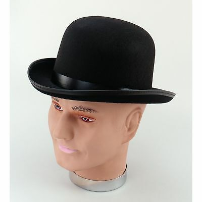OLD ENGLAND VICTORIAN BLACK  BOWLER HAT - mens fancy dress costume accessory