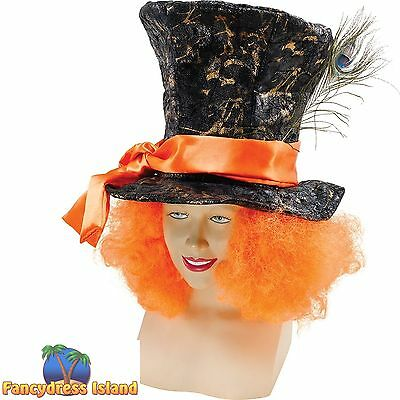 FAIRYTALE MAD HATTER HAT WITH HAIR Mens Fancy Dress Costume Accessory