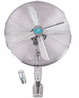 """Prem-i-Air 16"""" Chrome Wall Mounted Cold Air Fan with Remote Control and Timer"""