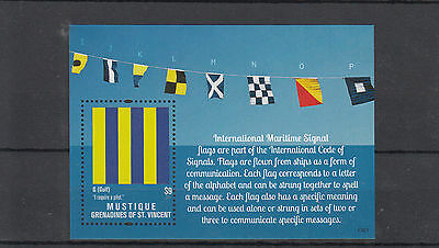 Mustique Grenadines St Vincent 2013 MNH Maritime Flags 1v S/S Int Signal Ships