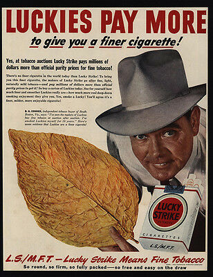 1949 LUCKY STRIKE Cigarettes - Tobacco Buyer - B G  CONNER - VINTAGE AD