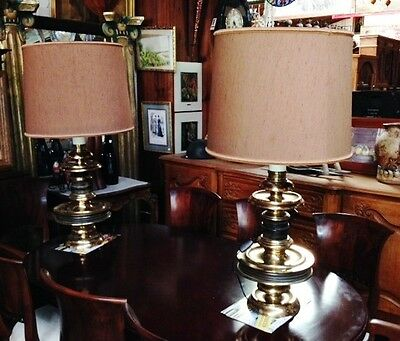 Huge Big Pair Vintage Table Desk Lamp Brass And Wood Switch Bakelite With Screen