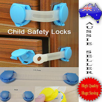 Children 2x Baby Kids Cupboard Cabinet Doors Drawers Safety Locks-Long or Short