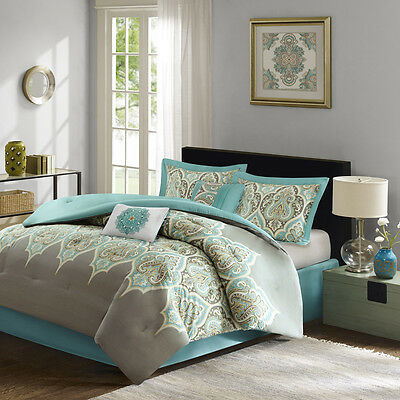 Beautiful Tropical Exotic Modern Blue Teal Aqua Grey Beach Green Comforter Set