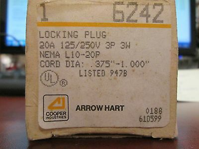 Arrow Hart Plug 6242 20A 125/250V 3P 3W New Surplus