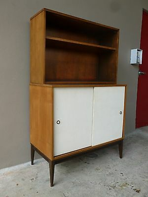 Lovingly Restored Planner Group  Paul Mccobb 2 Tier Cabinet W Sliding Jute Doors