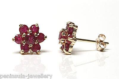 9ct Gold Stud Earrings Ruby cluster Gift Boxed Made in UK